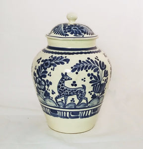 Deer Pattern Large Base w/lid 15 in H Blue and White