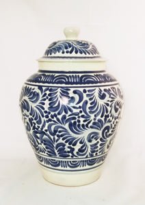 "Decorative Vase  15"" H Milestones Pattern Blue and White"