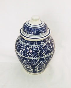 "Animals Decorative Vase w/lid 15"" H with Milestones Pattern Blue and White - Mexican Pottery by Gorky Gonzalez"