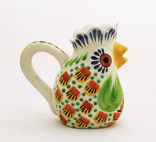 Rooster Cream Pitcher 10 Oz Green-Terracota Colors