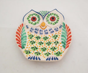 Owl Dish Plate Green-Orange-Terracota Colors