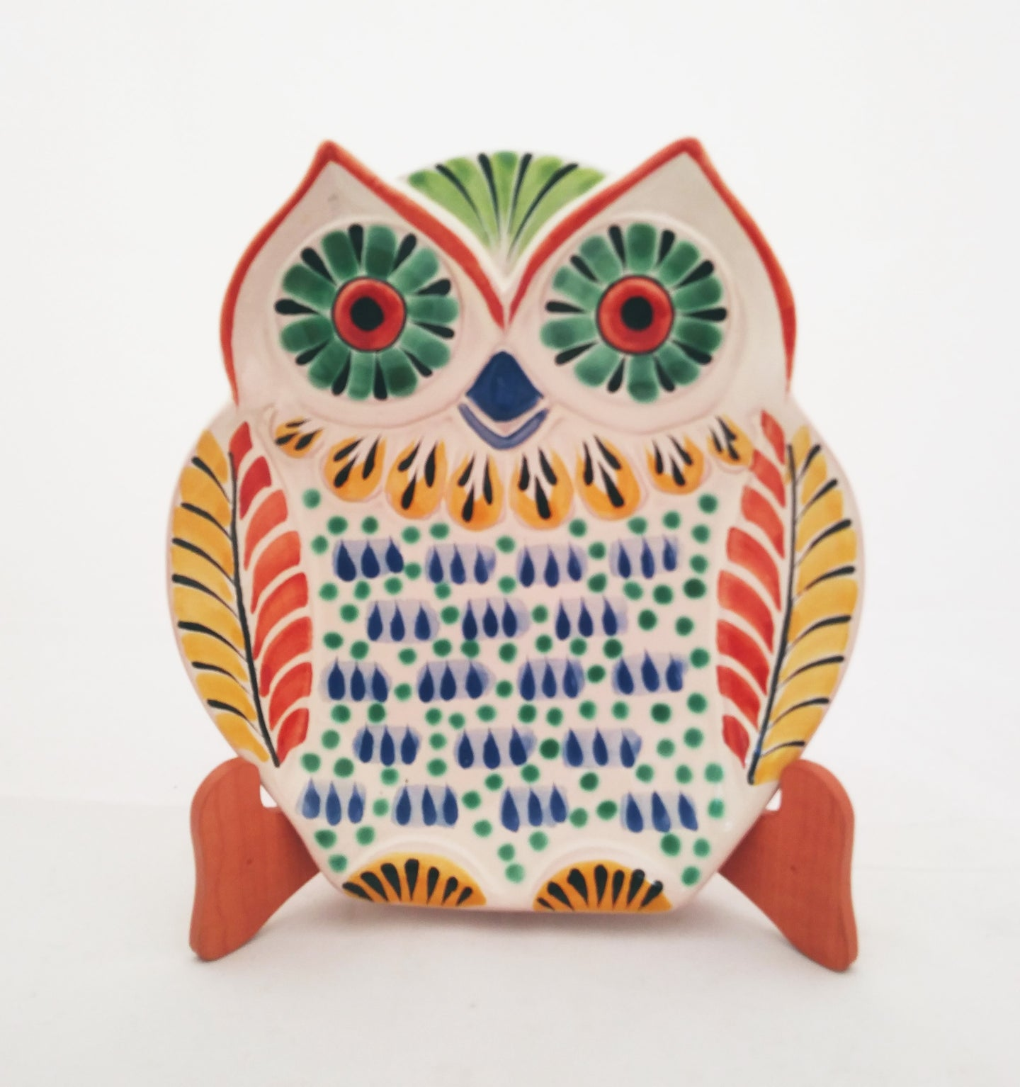 Owl Dish Plate Blue-Yellow Colors