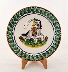 "CowBoy Salad Plate 8.7"" D Green-Black Colors"