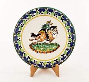 "CowBoy Salad Plate 8.7"" D Blue-Green Colors"
