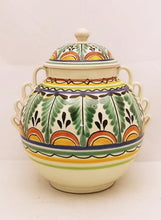 "Small Jar w/lid 9"" Height Green-Terracota Colors"