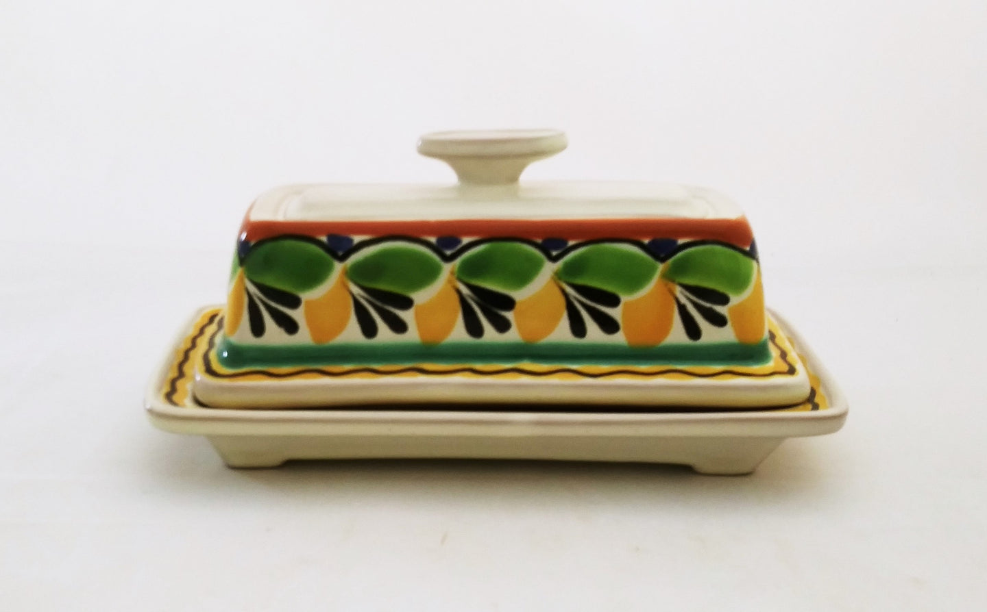 Butter Dish Green-Yellow Colors - Mexican Pottery by Gorky Gonzalez
