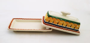 Butter Dish Orange-Green Colors - Mexican Pottery by Gorky Gonzalez