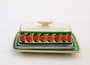 Butter Dish Terracota-Green Colors - Mexican Pottery by Gorky Gonzalez
