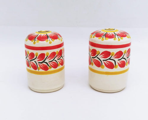 Red Flower Small Cilindrical Salt and Pepper Shaker Set Red Colors