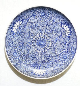 "Chrysanthemum Flower Platter 15.8"" D Blue and White Colors"