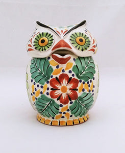 "Owl Tea Pot 6.7"" Hight Green-Yellow-Blue Colors"