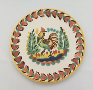 "Rooster Bread Plate 6.3"" D Terracota-Black-Yellow Colors"