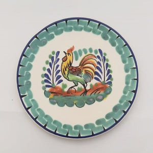 "Rooster Bread Plate 6.3"" D Green-Blue Colors"