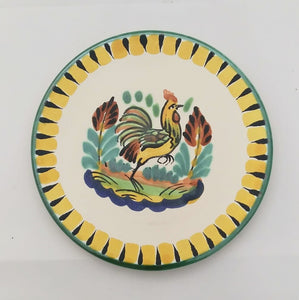 "Rooster Bread Plate / Tapa Plate 6.3"" D Yellow-Black Colors"