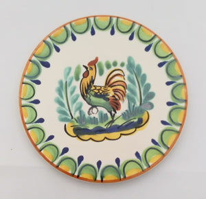 "Rooster Bread Plate 6.3"" D Green-Yellow-Terracota Colors"