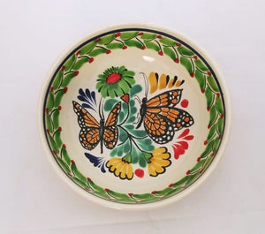 Butterfly Cereal Bowl 16.9 Oz Green-Orange-Black Colors - Mexican Pottery by Gorky Gonzalez
