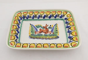 "Rabbit Rectangular Bowl 11*7.9"" Yellow-Blue-Terracota Colors"