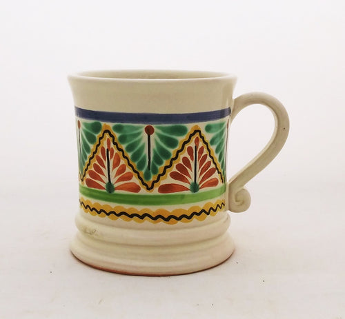Traditional Coffe Mug 12.2 Oz Yellow-Green-Yellow-Terracota Colors
