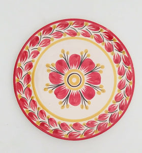 "Flower Bread Plate / Tapa Plate 6.3"" D Red Colors"