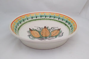 "Corn Serving Deep Round Platter 11"" D Yellow-Green Colors"