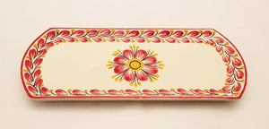 "Flower Tray 10.9 x 4.8"" Red Colors"