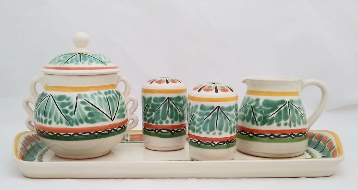 Sugar Set (5 Pieces) Green-Yellow Colors