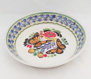 "Butterfly Deep Round Platter 13.8"" D Blue-Yellow-Orange Colors - Mexican Pottery by Gorky Gonzalez"