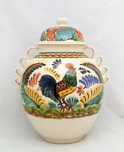 Rooster Large Gto Jar 16.5 in H Traditional Green-Blue-Yellow Colors