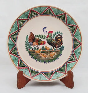 "Rooster Family Large Deep Round Platter 13.8"" D Green-Terracota Colors"