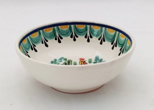Hen Cereal Bowl 16.9 Oz Green-Yellow-Black Colors