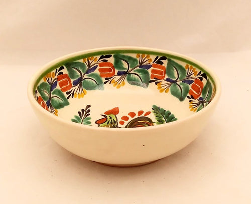Rooster Cereal Bowl 16.9 Oz Traditional Border Green-Terracota-Blue Colors