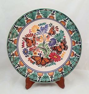 "Butterfly 17.7"" D Decorative Platter Green-Orange Colors - Mexican Pottery by Gorky Gonzalez"
