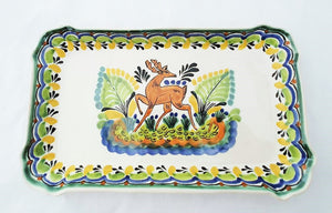 "Deer Tray / Serving Rectangular Platter 10.6 X 16.9"" Green-Yellow Colors"