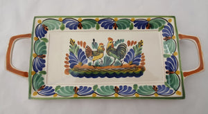 "Rooster & Chicken Tray 6.9 X 15"" Green-Blue Colors"