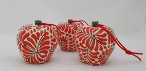 "Ornament Apples 3 X 3"" Set of 3 Red"