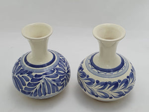 "Flower Mini Vase  4.3"" Height Set (2 pieces) Blue"