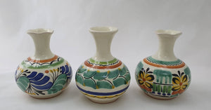 "Flower Mini Vase 4.3"" Height Set (3 pieces) MultiColors"