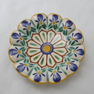 "Flower Footed Snack Dish 7"" D MultiColors"