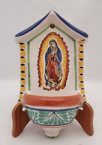 "Lady of Guadalupe Holy Water Fountain 5*9"" Green-Yellow Colors"