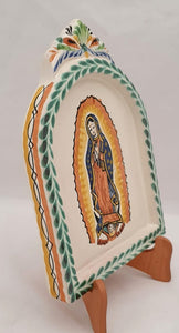 "Lady of Guadalupe AltarPiece 8.9"" Height Green-Yellow Colors"