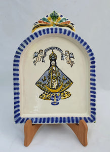"Virgin San Juan AltarPiece 8.9"" Height Blue-Yellow Colors"