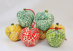 "Ornament Apples 3 X 3"" Set of 4 Multi-colors"