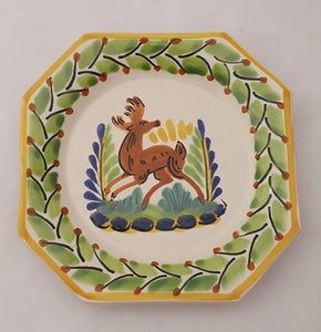"Deer Mini Octagonal Plate 6.7 X 6.7"" Green-Yellow"