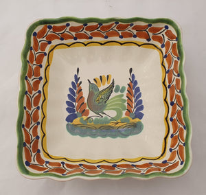 "Bird Square Salad Bowl 8.5 X 2.6"" Terracota-Green - Mexican Pottery by Gorky Gonzalez"