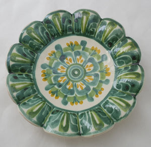 "Flower Fotted Snack Bowl 7.1 X 7.1"" Green-Yellow"
