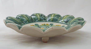 "Flower Footed Snack Dish 7"" D Green Colors"