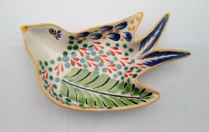"Bird Small Swallow Dish 6.1 X 4.1"" Green-Terracota"