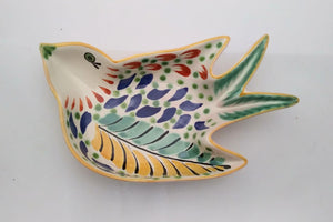 "Bird Small Swallow Dish 6.1 X 4.1"" Green-Blue"