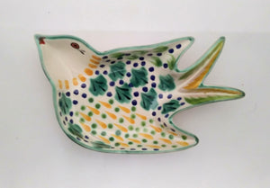 "Bird Small Swallow Dish 6.1 X 4.1"" Green-Yellow"