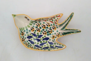 "Bird Small Swallow Dish 6.1 X 4.1"" Yellow-Blue"